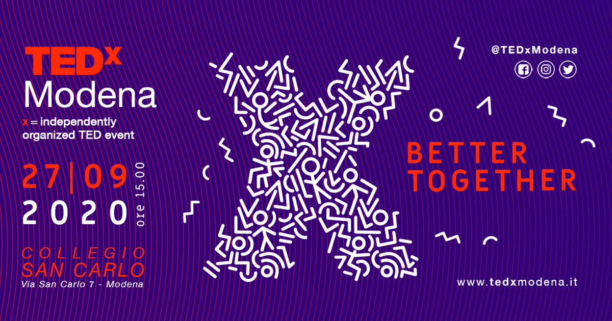 27.09.2020 torna il TEDx a Modena: Better Together